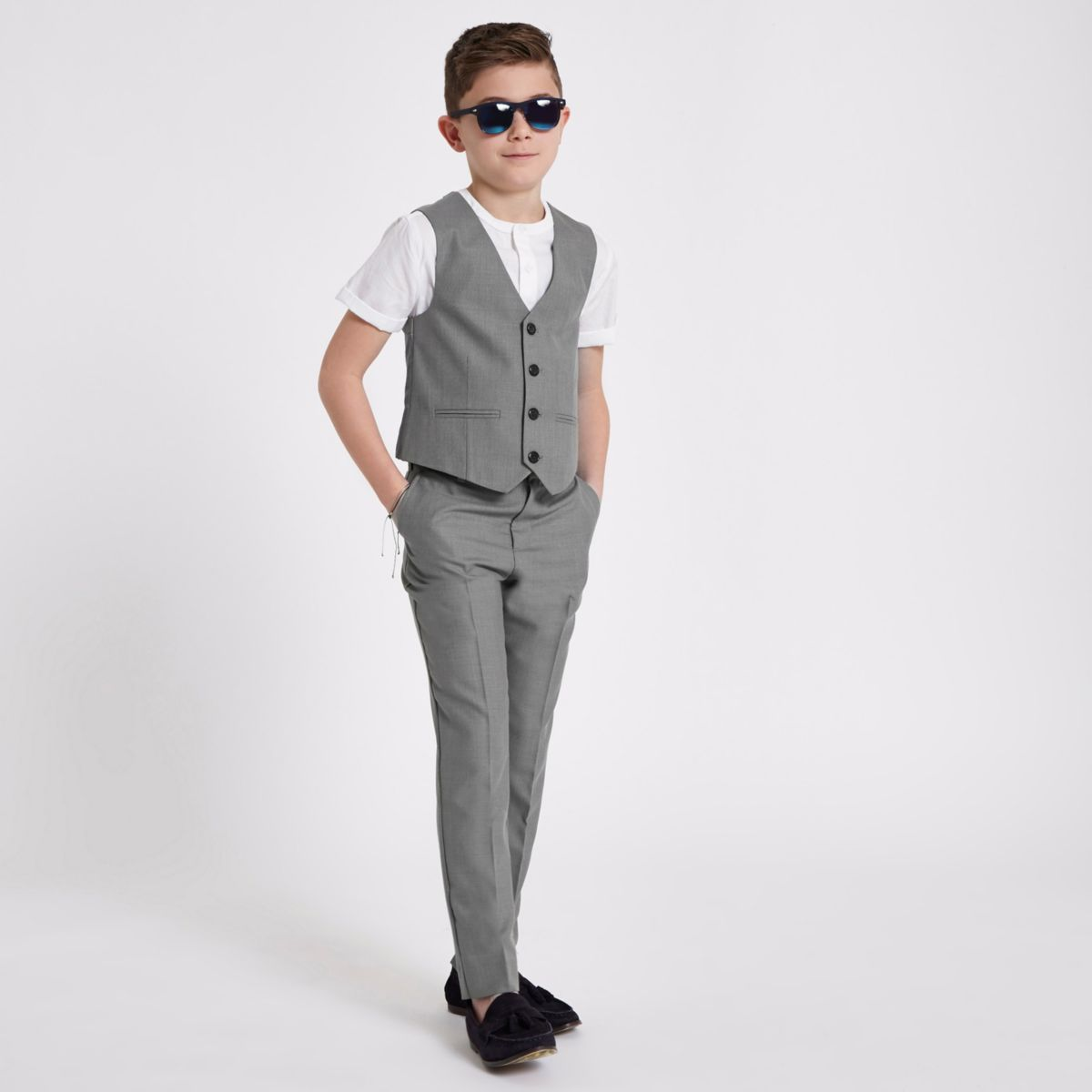 Boys grey suit vest