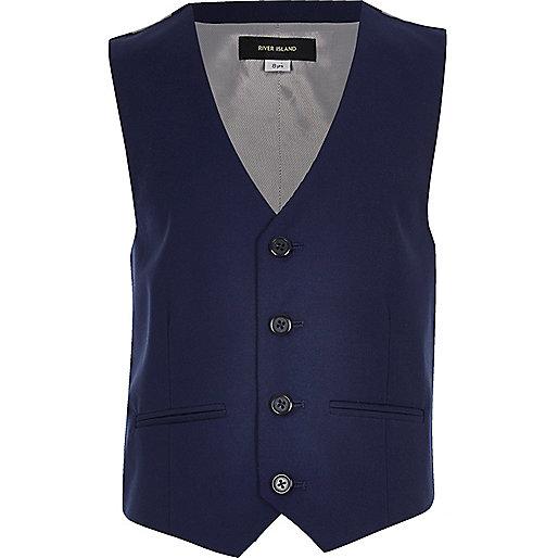 Boys bright blue suit waistcoat