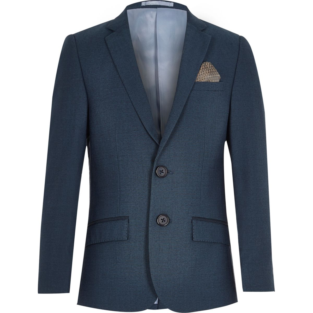 Boys petrol blue suit blazer jacket