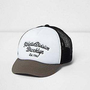 Boys white contrast print mesh trucker cap