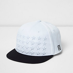 Boys white star embroidered flat peak cap