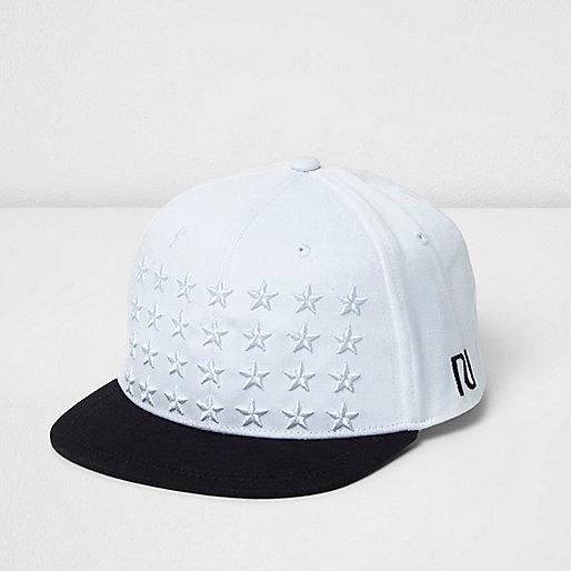 Boys white star embroidered flat peak cap