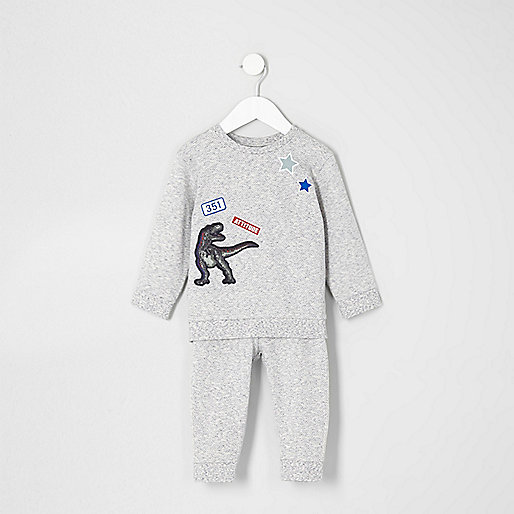 Mini boys blue print textured sweat outfit
