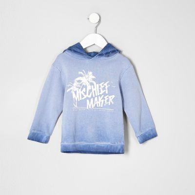Mini Blauwe mischief maker hoodie voor jongens