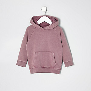 Mini boys pink burnout 'dude' hoodie