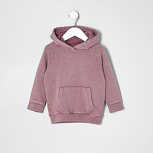 Mini boys pink burnout 'dude' hoodie