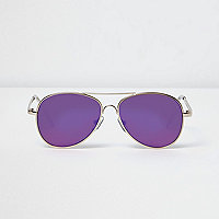 Boys gold purple lens aviator sunglasses