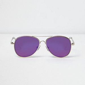 Lunettes de soleil aviateur dorées à verres violets pour garçon