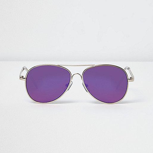 Boys gold purple lens aviator sunglasses