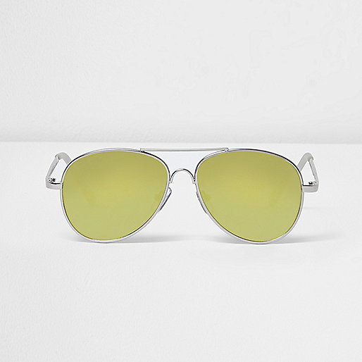 Boys silver flat lens aviator sunglasses