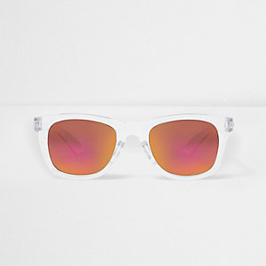 Boys white clear retro mirror sunglasses