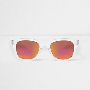 Boys white clear retro mirror sunglasses