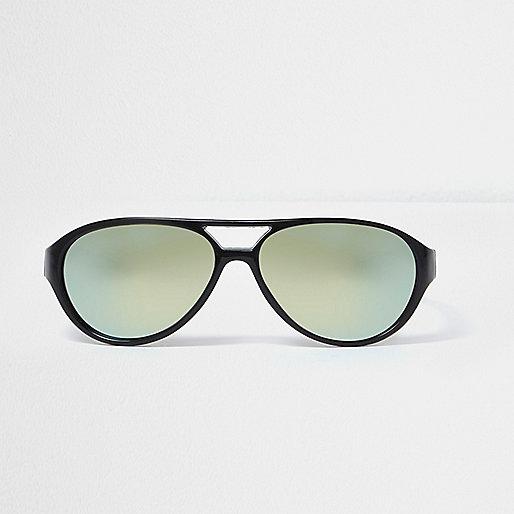 Mini boys black aviator green lens sunglasses