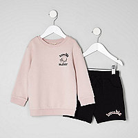 Mini boys pink sweatshirt and shorts set