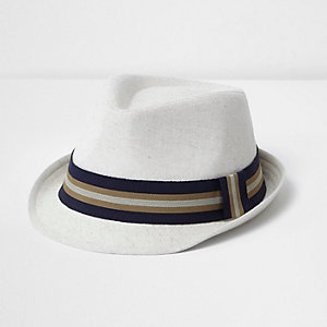 Boys beige ribbon trilby hat