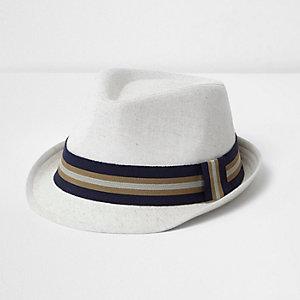 Boys beige ribbon trilby hat