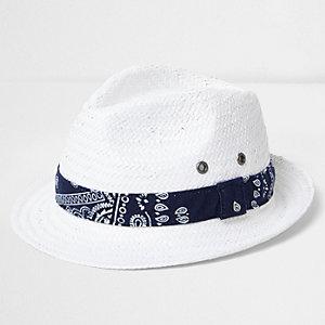 Boys white bandana tie straw trilby hat