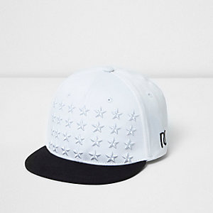 Mini boys white embroidered flat peak cap