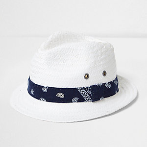 Mini boys white bandana tie straw trilby hat