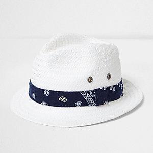 Chapeau de paille blanc avec bande bandana mini garçon