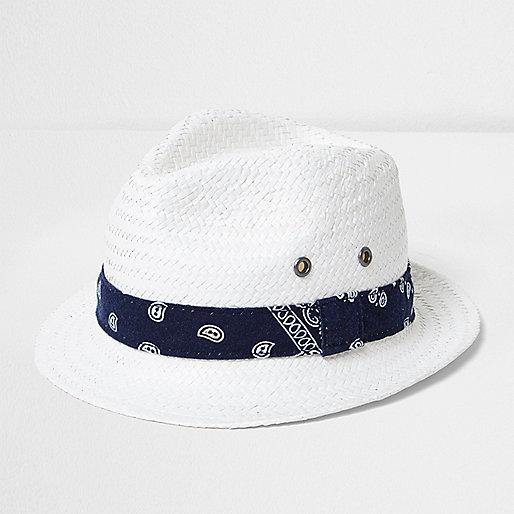 Mini boys white bandana tie straw trilby hat