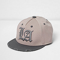Mini boys blush flat brim LA cap