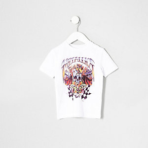 Mini boys white Metallica band print T-shirt