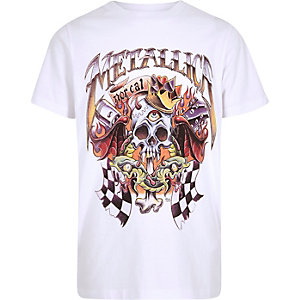 Boys white Metallica band print T-shirt