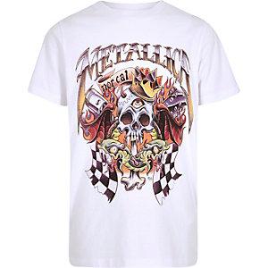 T-shirt imprimé groupe Metallica blanc pour garçon