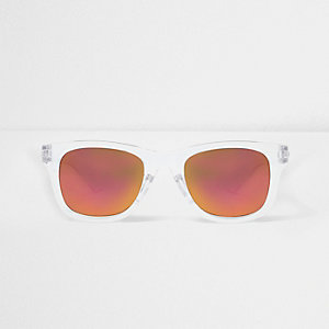 Boys clear retro mirror lens sunglasses