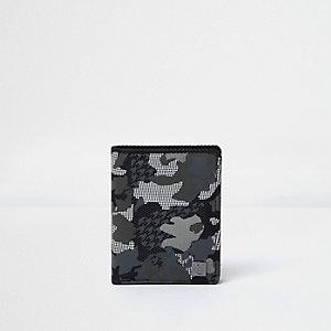 Portefeuille imprimé camouflage gris kaki pour garçon