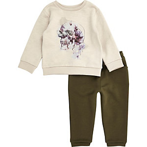 Mini boys cream skull sweat and jogger set