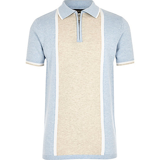 Boys blue knit colour block polo shirt