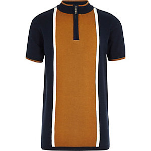 Boys navy knit colour block polo shirt