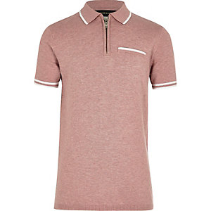Boys pink knit tipped polo shirt