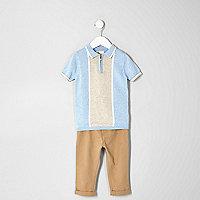 Mini boys blue polo and slim fit chino set