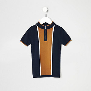 Mini boys navy and tan track neck polo shirt