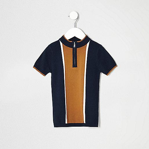Mini boys navy knit color block polo shirt