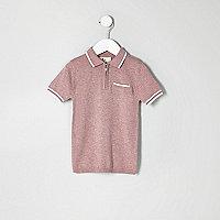 Mini boys pink knit tipped zip polo shirt
