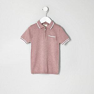 Pinkes Polohemd mit Reißverschluss