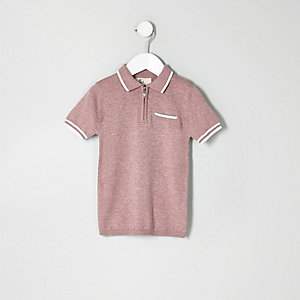 Mini boys pink knit tipped zip polo shirt