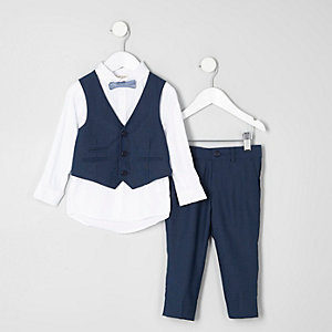 Mini boys navy suit set