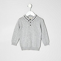 Mini boys grey knit long sleeve polo shirt