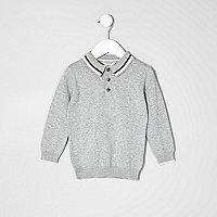 Mini boys grey knit long sleeve polo shirt