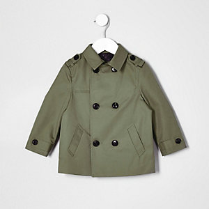 Mini boys khaki green smart mac jacket