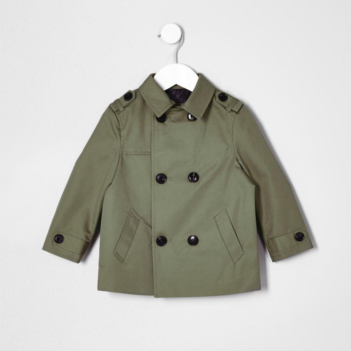 Mini boys khaki green smart mac jacket