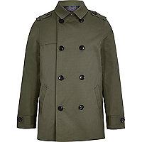 Boys khaki green smart mac jacket