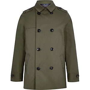 Boys khaki green smart mac jacket