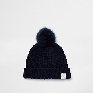 Mini boys navy blue faux fur pom pom beanie