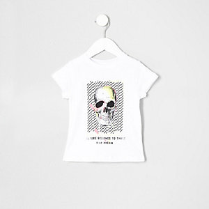 Mini boys white neon skull T-shirt